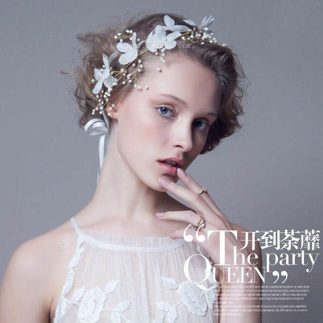Elegante Dames Gesimuleerde Parels Hoofdband met Lint Witte Zijde Bloem Haar sieraden Meisjes Haar jurk Haaraccessoires SG029