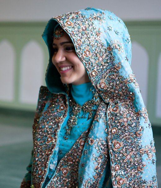 blue pakistani bride hijabi #bridal #wedding