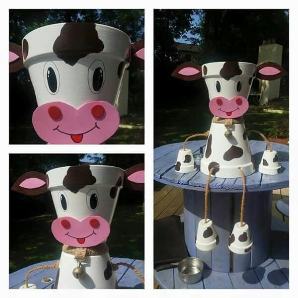 Pot de fleur vache mamie bricole pinterest pots - Pot de decoration exterieur ...