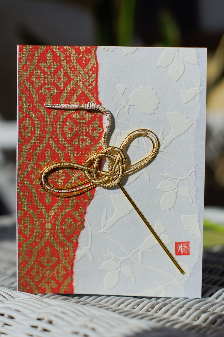 Exquisite, Handcrafted, Japanese Washi Paper Greeting Cards with Mizuhiki Cord Cranes. Washi paper cards - re-Pinned by HankoDesigns.Com