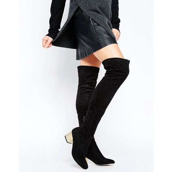 ASOS KAILIS Over The Knee Sock Boots (€75) ❤ liked on Polyvore featuring shoes, boots, black, over knee boots, above knee boots, over-knee boots, square toe boots and black square toe boots