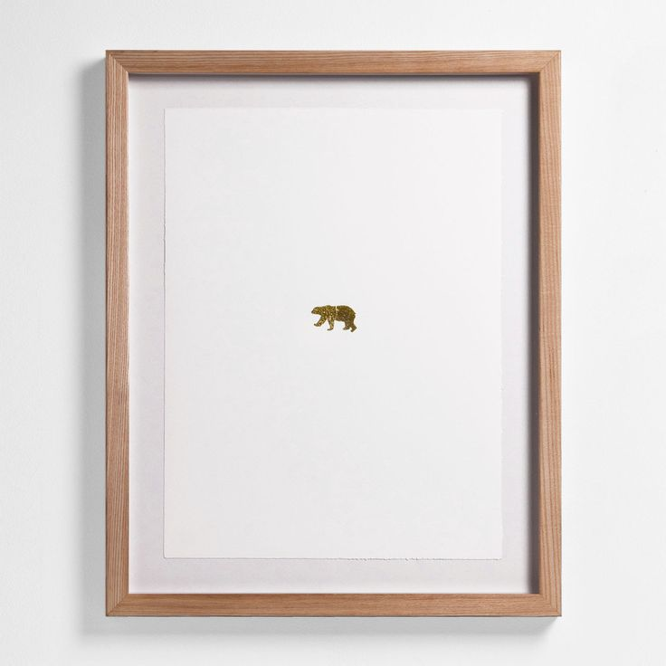 "Bear: 20"" H x 16"" W Floated and Dry Mounted - Gold Leaf Foil on Fine Art Paper, Torn Edges  Natural - Wood Ash Frame #artsquaredinc #art #design #gold  #goldleaf #Artimals #animalart #Canadiana #GreatNorth #bear #polarbear"