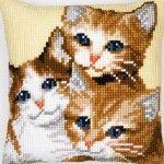 3 Kitties - kruissteekkussen - Vervaco