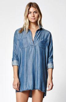 Wandering Blues Chambray Shirt Dress