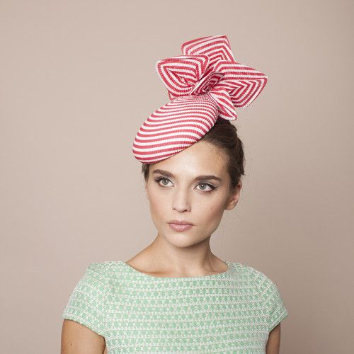 Love this little number. #hat #style #derbyday | Gina Foster Millinery - Rimini - Striped Petal Medium Cocktail Hat
