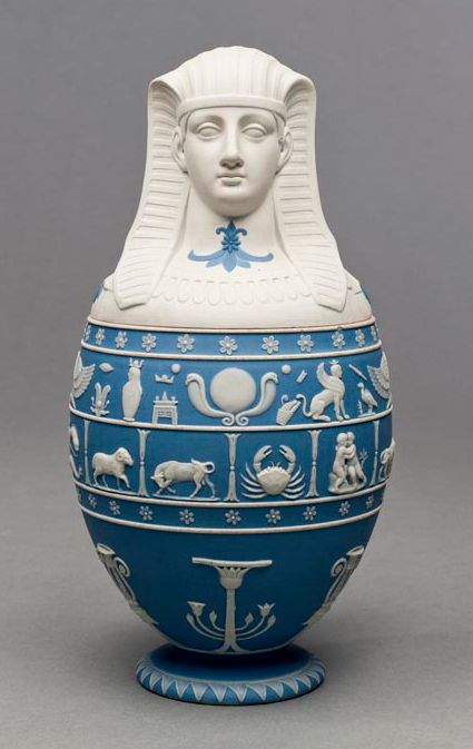 Canopic Vase. Stoneware with applied jasperware relief decoration. ca. 1865-1870. Wedgewood Factory, English, est. 1759. San Antonio Museum of Art 2001.52.78.a-b.