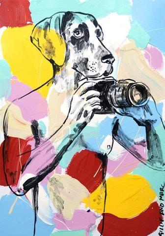 Gillie and Marc 'He was called Paparazzi Dog' - enamel on card – Angela Tandori Fine Art
