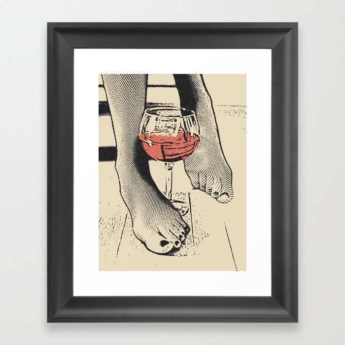 Perfect saturday night - kinky feets fetish artwork, woman in bodystocking with wine glass Framed fine art print on natural white, matte, ultra smooth, 100% cotton rag, acid and lignin free archival paper using an advanced digital dry ink method to ensure vibrant image quality. #society6 #framed #art #prints