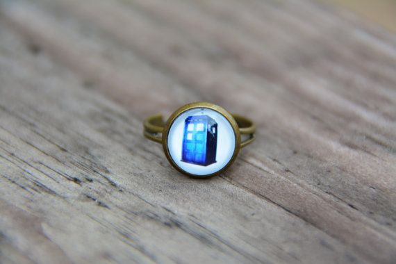 Doctor Who Ring Tardis Ring Police Box Ring Blue ring