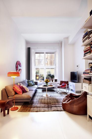 Love the leather bean bag. And the sofa for that matter.  Photograph by Sara Sjögren.