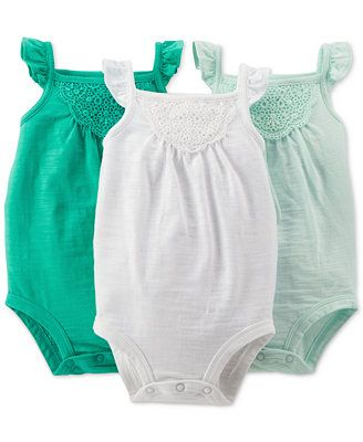 Carter's Baby Girls' 3-Pack Crochet-Work Bodysuits