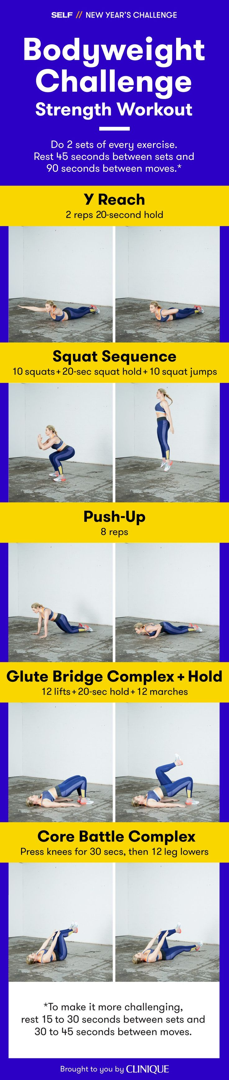Work every major muscle group without any equipment at all with this bodyweight strength workout from SELF's New Year's Challenge.