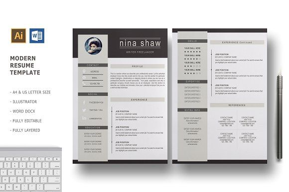 Hydra 2 Pages Resume Template Resume Design Template Resume Template Resume Templates