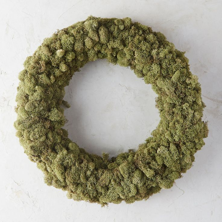 "Soft bunches of natural, preserved reindeer moss form this woodsy, handmade circlet for the home or doorstep.- Preserved reindeer moss, straw wreath base- Indoor or sheltered outdoor use- For best longevity, handle gently and avoid direct sunlight or moisture- Imported3""D, 21"" diameter"