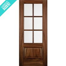 WoodDoor+ Internal Pre-Finished Walnut Glazed 6 Light Iris Door