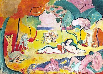 "Le bonheur de vivre (The Joy of Life, or ""The Good Hour of Life"") - Henri Matisse.  1905.  Oil on canvas.  5' 8 1/2"" x 7' 9 3/4"".  Barnes Foundation, Philadelphia, Pennsylvania. (Moved from Merion PA in 2012)."