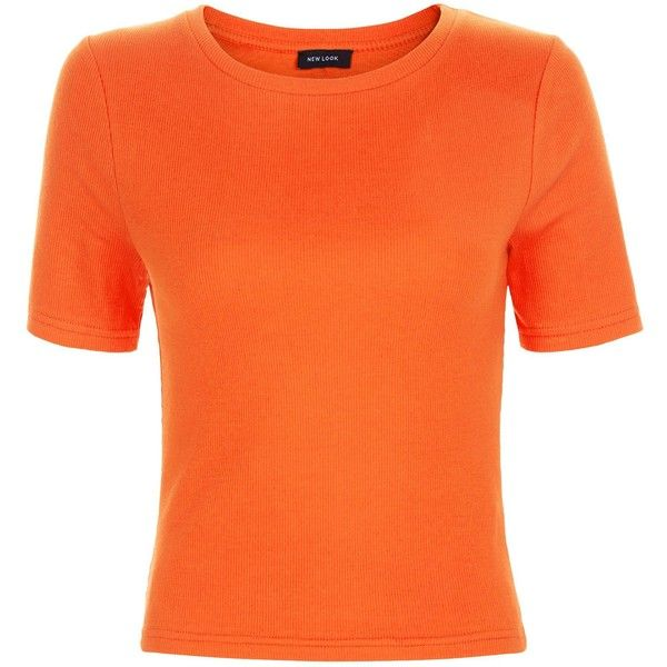 New Look Bright Orange Ribbed T-Shirt ($12) ❤ liked on Polyvore featuring tops, t-shirts, spicy orange, ribbed top, orange t shirt, bright orange t shirts, orange tee and bright colored t shirts