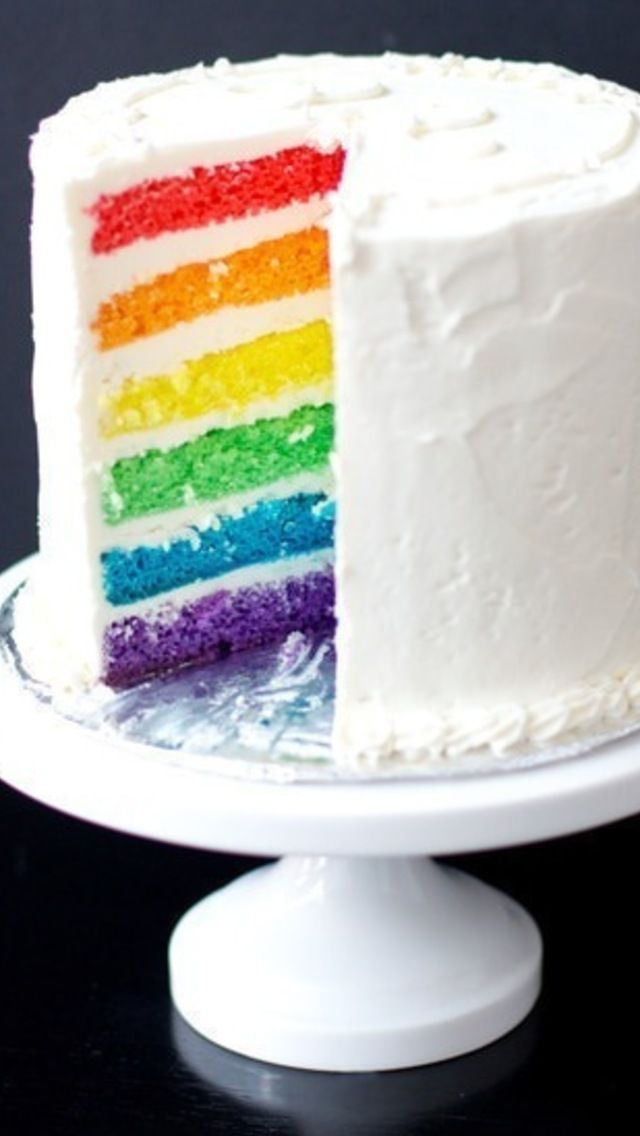 Rainbow Cake with White Chocolate Buttercream