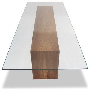 "Rectangular glass top dining table with double-fold solid wood base.Dimensions: 137""L x 48""D x 30""H (1/2"" Starphire glass)Rotsen Furniture creates"