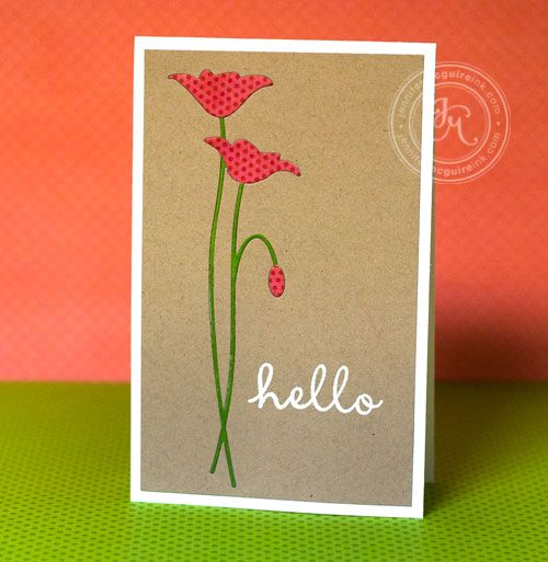 Layering with die cuts: Prim Poppies, Flowers Cards, Memories Boxes Die, Die Cut Cards, Cards Techniques, Cut Techniques, Memories Boxes Poppies Die, Cards Poppies, Inlaid Diecut