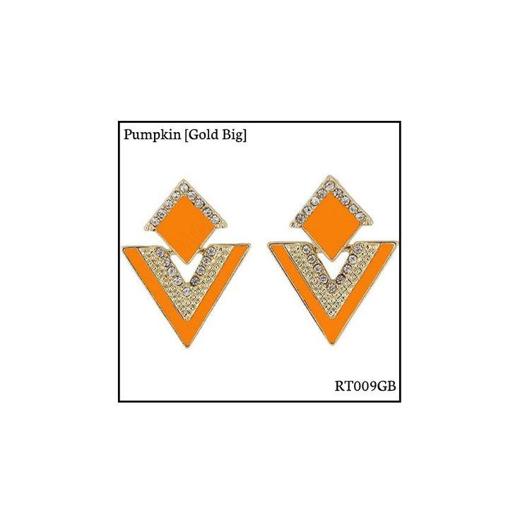 Ref: RT009GB Pumpkin [Gold Big] . Medidas: 3.5 cm x 2.8 cm . So Oh: 5.99 . Disponível para entrega imediata! Boas compras! #sooh_store #onlinestore #rhombus #trigonal #brincos #earrings #fashion