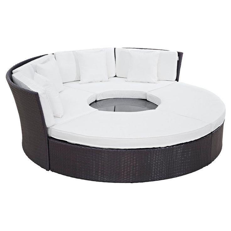 Convene Circular Outdoor Patio Daybed Set - Espresso/White - Modway, Green