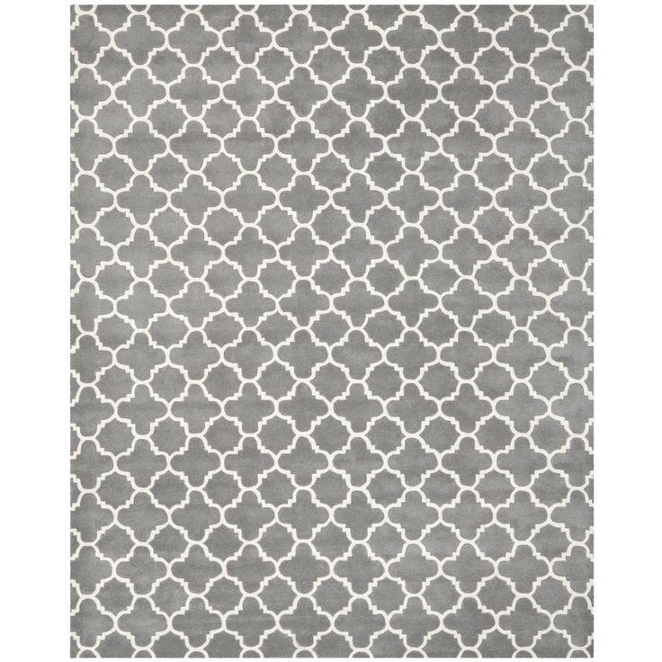 Safavieh Handmade Moroccan Dark Grey Wool Lattice Rug 89 X 12