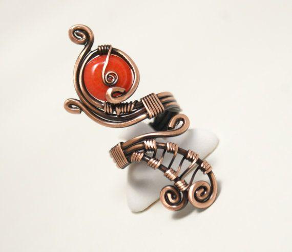 alambre de cobre con alambre anillo coral envuelto por BeyhanAkman