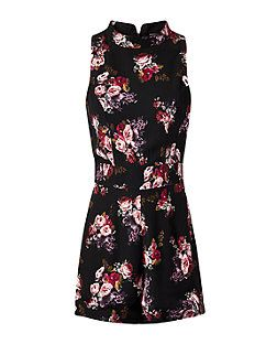 Fashion Union Black Floral Print High Neck Playsuit  | New Look