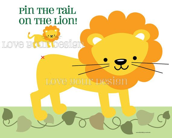 Lion Game for Birthday Party- Pin the Tail on the Lion- printable digital jpeg files INSTANT DOWNLOAD on Etsy, $8.58 AUD