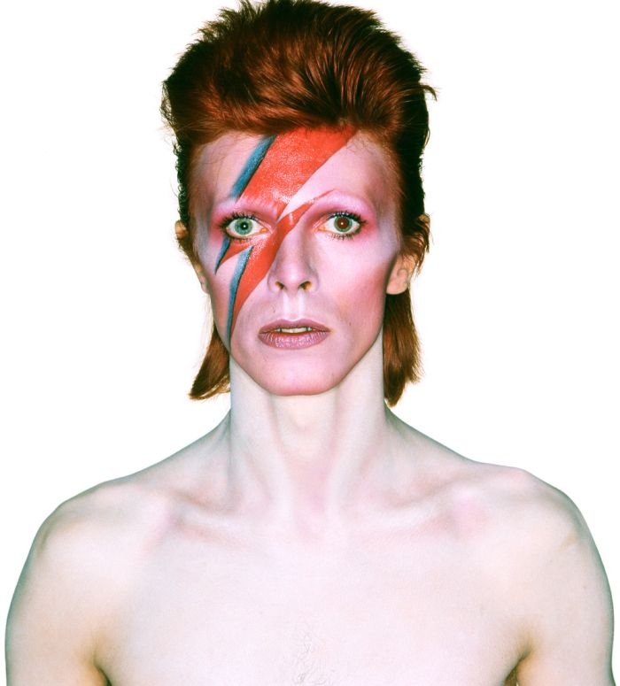 """Brian Duffy photograph of David Bowie for the Aladdin Sane album cover, 1973. """"Bowie's sixth studio album marked the birth of the 'schizophrenic' character Aladdin Sane who was a development of the space-age Japanese-influenced Ziggy Stardust..."""""""
