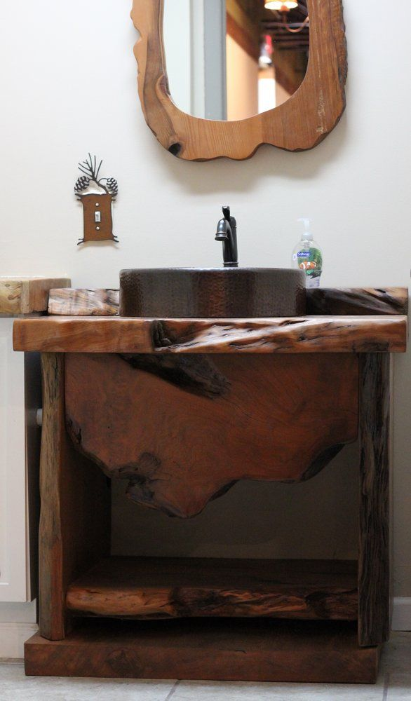 Burl Wood Slab Bathroom Vanity | Littlebranch Farm
