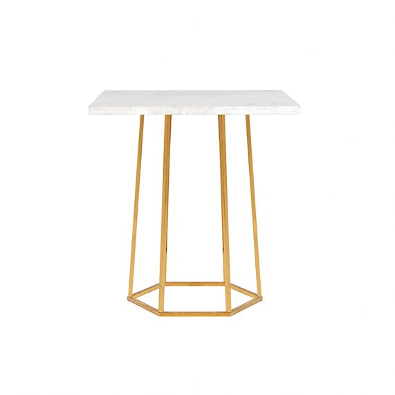 HEX MARBLE CAFE TABLE - METALLIC GOLD