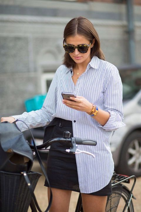 Darja Barannik Copenhagen Fashion Week Striped shirt and leather skirt (August 2015) http://theurbanspotter.com/wp-content/uploads/2015/08/CopenhagenSS16Day1-2940.jpg