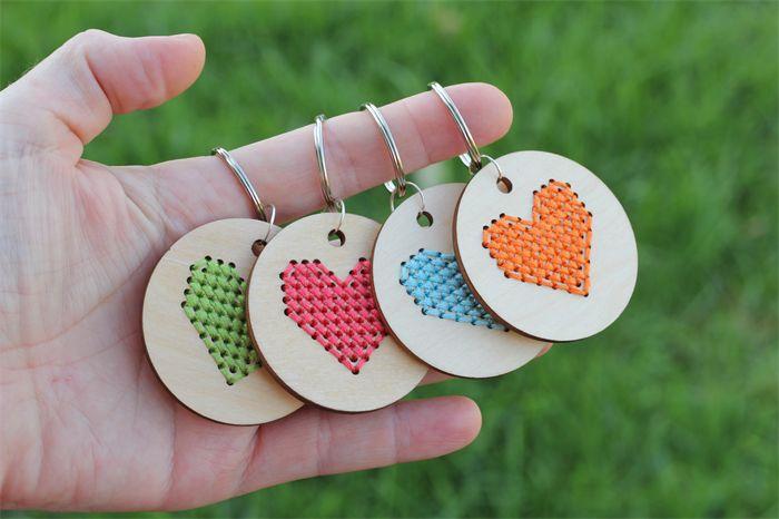 DIY cross stitch heart key ring kit on wooden pendant. Clementine orange.