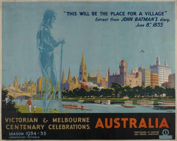Victoria and Melbourne Centenary Celebrations, 1934-5 by Percy Trompf. #travel #poster