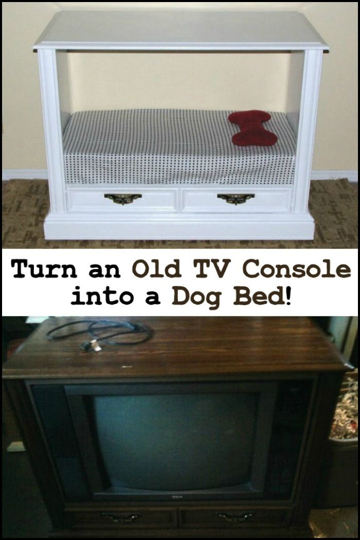 Build your furry friend a unique bed from an old TV console!