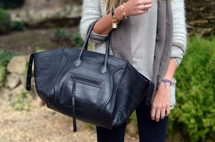 Chiara in Rome with her Celine phantom bag and lovely trinkets ...