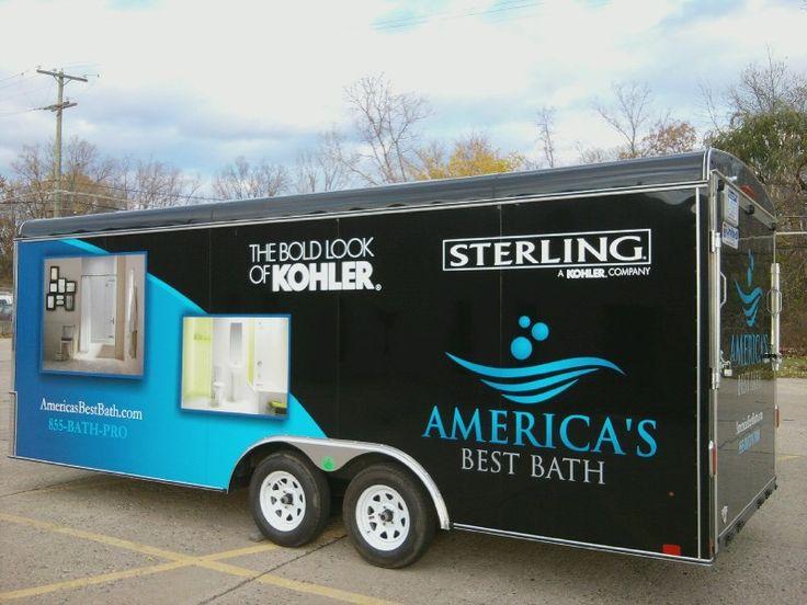 Americas best bath graphics installed on a black trailer