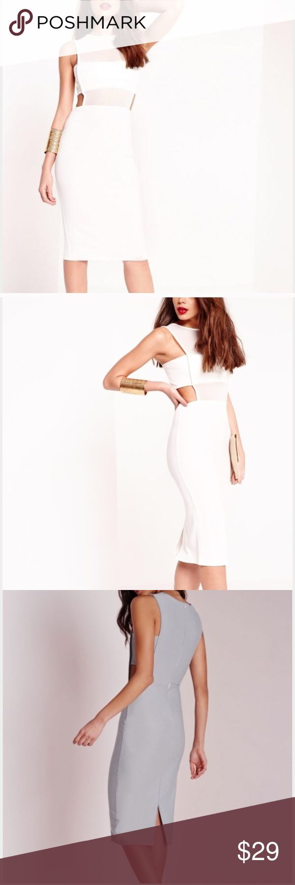 Missguided crepe midi white cutout dress with mesh Amazing Missguided white dress! So chic! Bought for my cocktail attire bridal shower but too big, I was hoping it tan snap but it's true to size 10. Enjoy! 💞 Missguided Dresses Midi