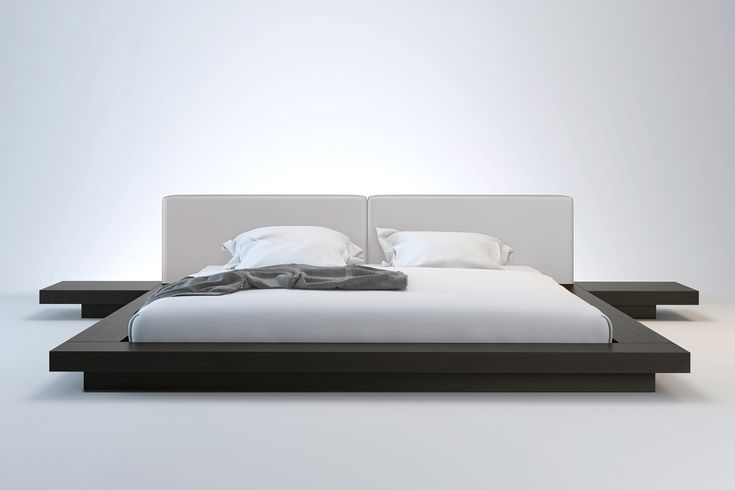 Worth Queen Bed from Modloft. Has multiple color combinations and built in side tables. http://www.modloft.com/store/Beds/Worth-Queen-Bed