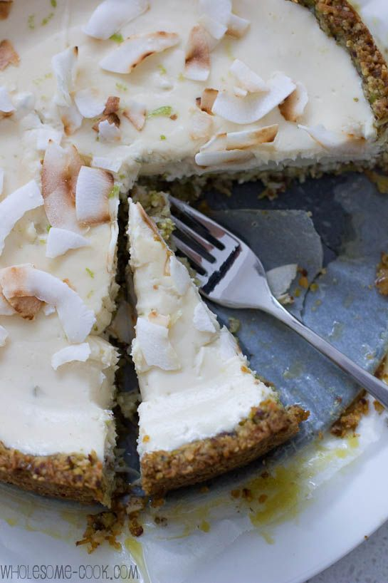 Sugar-free Yoghurt Cheesecake with Lime and a Nutty Hemp Seed Crust
