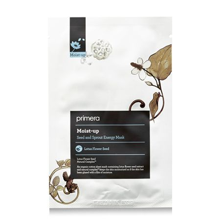 Primera MoistUp Seed and Sprout Energy Mask Supplies moisture and resilience lift. Lotus flower seeds provide intense hydration as it forms a protective barrier around the skin to retain moisture. Black rice, black bean, and mugwort extracts soothe irritated skin while restoring skin's vitality. Soaked in 100% natural floral fragrance for a relaxing and calm experience once applied. This organic cotton mask is unbleached, making it noticeably softer and safer than bleached masks.