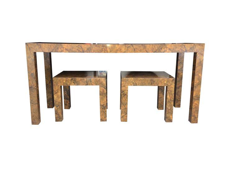Vintage Parsons Tables  Set Of 3