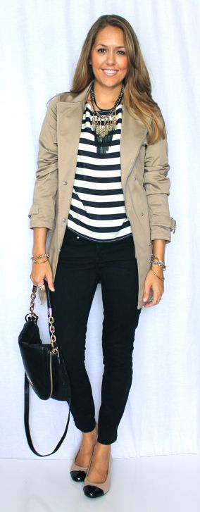 Find a long pendant statement necklace. Nice fall outfit.