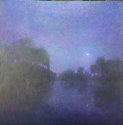 сапфир на берегу озера по Loriann синьоры масло ~ 36 х 36