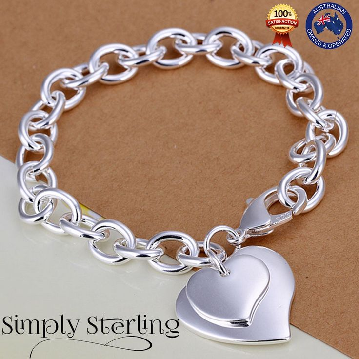 925 STERLING SILVER PLATED 2 HEART LOVE CHARM BRACELET ROMANTIC LINK CHAIN