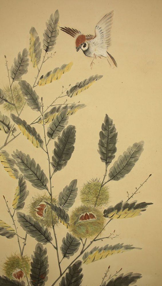 JAPANESE HANGING SCROLL : SHODO  Chestnuts and Birds   @u975