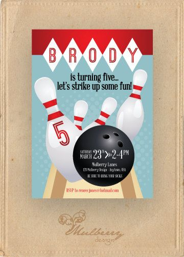 27 best 5th Birthday Bowling Party images on Pinterest 5th - bowling invitation