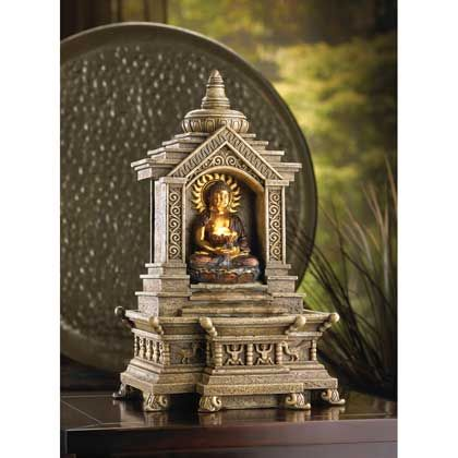 14773+Golden+Budda+Temple+Fountain  Budda reclines within the shelter of his temple as cascading blessings flow from his glowing basket. SKU14773 Weight4.2 lb Price$69.95 Sale Price$44.95
